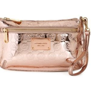 Michael Kors Jet Set Monogram Metallic Wristlet